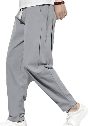 LanFengeu Mens Casual Harem Pants Autumn Comfortable Gym Fitness Trousers Male Lightweight Linen Pants