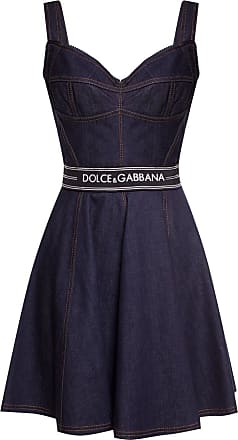 Dolce & Gabbana Flared Denim Dress Womens Navy Blue