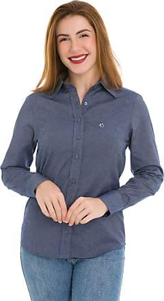 Olimpo Camisaria Camisa Social Feminina Olimpo Maquinetada Manga Longa Azul