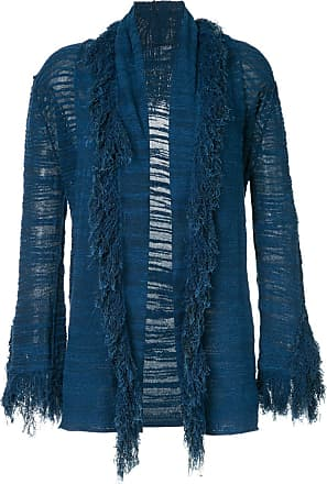 Onefifteen fringe trim open front cardigan - Blue