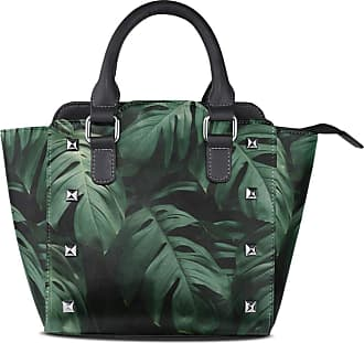 NaiiaN Tote Bag Lake Shoulder Bags Light Weight Strap Purse Shopping for Women Girls Ladies Student Handbags Leather Leaves Green Plant Nature
