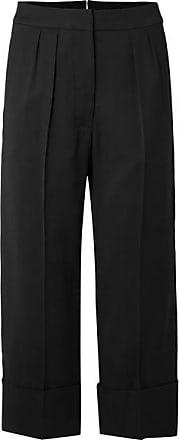 Burberry Pantalon Large Raccourci En Laine Et Soie Mélangées - Noir d0a7f91f42a