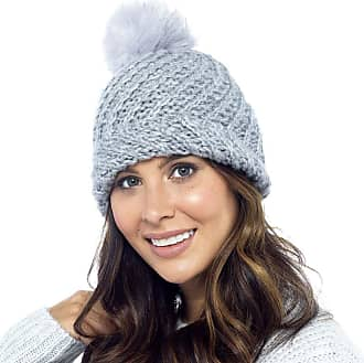 Foxbury Diagonal Knit Hat with Faux Fur Bobble Grey