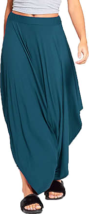 Re Tech UK Ladies Gathered Draped Baggy Harem Pants Trousers Lagenlook Alibaba Teal,8 to 14 (One Size)