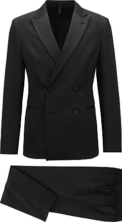BOSS Slim-fit double-breasted tuxedo with silk lapels