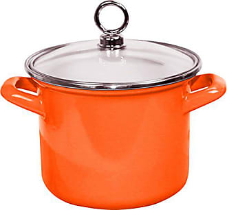 Reston Lloyd Calypso Basics by Reston Lloyd Enamel Stockpot with Glass Lid, 3.5-Quart, Orange