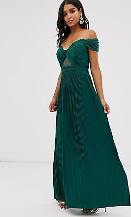 Asos premium - Vestito lungo a pieghe in pizzo con scollo Bardot-Verde