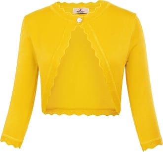 Grace Karin Elegant Wedding Shrug Bolero Vintage Open Front Cropped Lightweight Banquet Knit Cardigan Yellow XXL