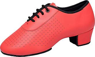 Insun Girls Lace-up Latin Salsa Tango Ballroom Dance Shoes Red Leather 11.5 UK Child