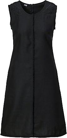 Madeleine Ärmelloses Leinenkleid mit Fransen und Lochstickerei in schwarz MADELEINE Gr 34 für Damen