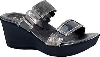Naot Naot Womens Treasure Wedge Sandal,Metal Leather/Gray Patent Leather,39 EU/7.5-8 M US