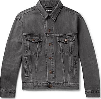Balenciaga Logo-print Denim Jacket - Gray