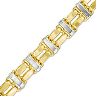 Zales Mens 8.4mm Double Row Link Bracelet in 10K Two-Tone Gold - 8.5