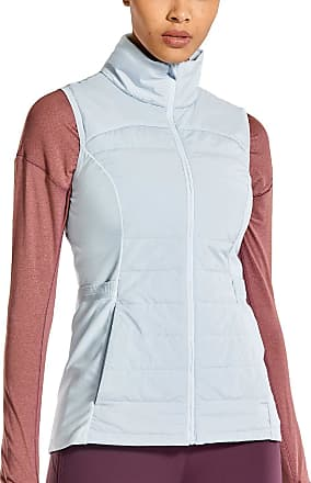 CRZ YOGA Womens Athletic Padded Vest Lightweight Full-Zip Sleeveless Jackets with Pockets Clouds Color 10