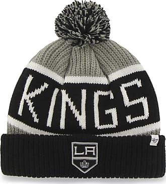 47 Brand 47 NHL Los Angeles Kings Calgary Bobble Knit Hat - Ice Hockey Winter Hat, Black / Grey