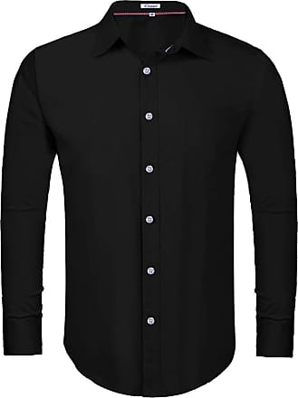 iClosam Mens Dress Shirts Long Sleeve Regular Fit Business Basic Shirts Solid Color Casual Button Down Formal Tailored Fit Shirt Black