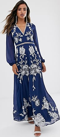 Asos maxi dress with split sleeve in ocassion embroidery and circle trim-Multi