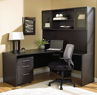 Unique Furniture 100 Series L-Shaped Desk with Hutch and Mobile Pedestal - 100COMBO6-ESP