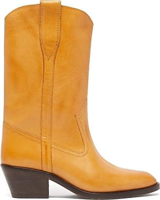 Isabel Marant Danta Leather Western Boots - Womens - Light Tan