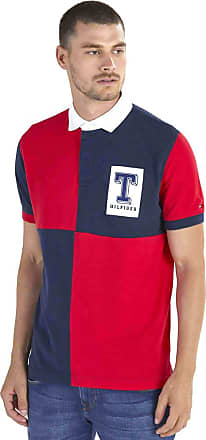 Tommy Hilfiger Camisa Polo Masculina Rugby Regular Fit Manga Curta Quadriculada Detalhe Bordado Frontal