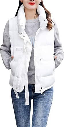 JERFER Women Winter Warm Thick Outerwear Sleeveless Coat Short Slim Jackets Coats White
