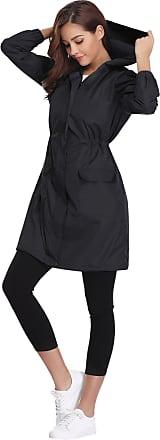 Abollria Womens Raincoat Waterproof Hooded Lightweight Rain Jacket Active Outdoor Windbreaker Trench Coats Black