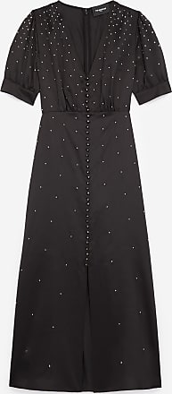 The Kooples Satin long black dress with studs - WOMEN