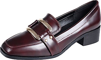 Jamron Womens Elegant Square Toe Block Heel Patent Leather Buckle Penny Loafers Ladies Office Court Shoes Burgundy SN020104 UK5