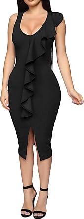 QIYUN.Z Summer Elegant Ruffle Sleeve Women Dress Slim Brief Lady Dress Black XL
