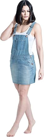 Uskees Short Denim Dungaree Dress - Aged Blue Bib-Skirt CICELYAGED-14