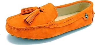 MGM-Joymod Womens Comfort Flats Orange Suede Leather Tassel Driving Walking Leisure Slip-on Loafers Boat Shoes 5.5 M UK