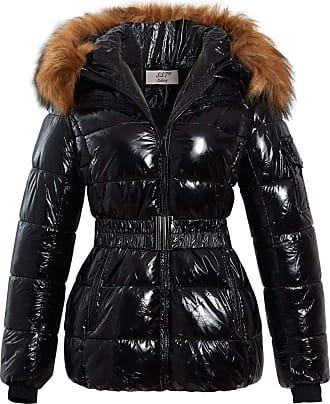 SS7 Womens Longline Puffer Parka Faux Fur Coat