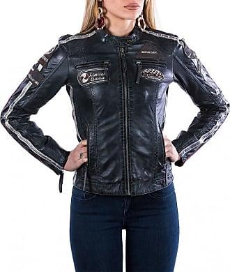 Leather Trend Italy Motociclista Donna - Giacca in Vera Pelle colore Blu Tamponato Morbida