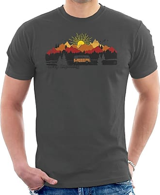 Volkswagen Camper Mountain Sunrise Mens T-Shirt Charcoal
