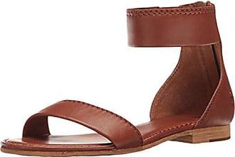 Frye Womens Carson Ankle Zip Flat Sandal, Cognac, 7.5 M US