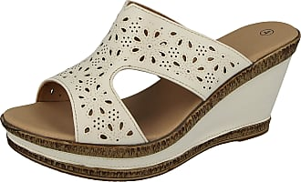 Cushion-Walk Yinka Shoes Ladies Real Leather Lined Open Toe Slip On Backless Mules Mid Wedge Heel Summer Sandals Size 3-8 (5 UK, White PU)