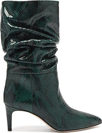 PARIS TEXAS Slouchy Python-effect Leather Ankle Boots - Womens - Green Multi
