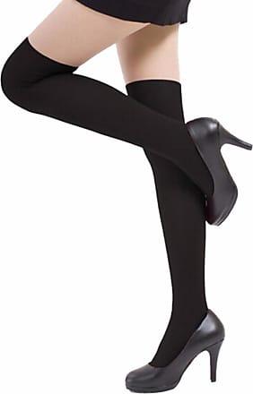 QUINTRA 2018 Womens Girls Fashion Opaque Over Knee Thigh High Elastic Socks New (Black)