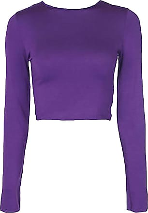 WearAll Womens Crop Long Sleeve T Shirt Ladies Short Plain Round Neck Top ((M/L) 12-14, Purple)