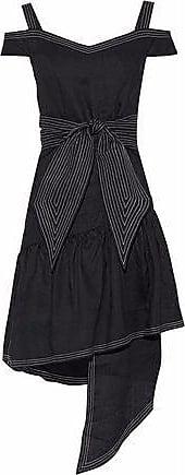 Paper London Paper London Woman Cold-shoulder Asymmetric Linen Dress Black Size 12