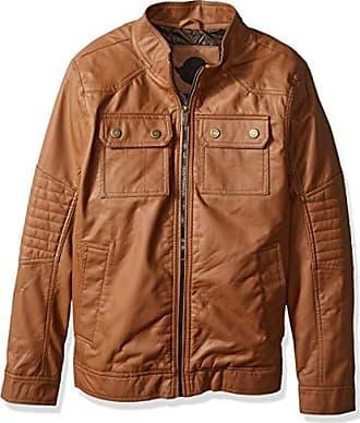 Urban Republic Mens Faux Leather Jacket, Cognac, M