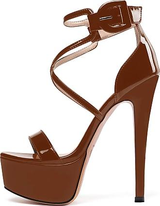 EDEFS Womens Open Toe Stiletto Heel Sandals Ankle Strap Platform Summer Shoes Brown EU44