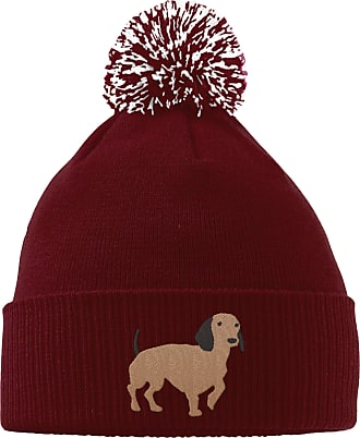 HippoWarehouse Dachshund Embroidered Beanie Hat with Bobble Maroon