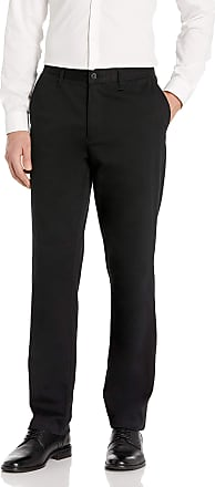 Nautica Mens Classic Fit Flat Front Stretch Solid Chino Deck Pant Business Casual, True Black, 32W x 32L