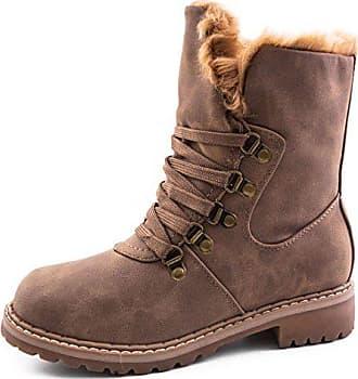 c91f5eb206603f Marimo Damen Winter Schnür Boots Schuhe Stiefel mit Kunstfell in Lederoptik  warm gefüttert Khaki 36