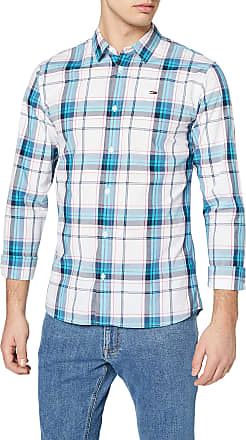Tommy Jeans Tommy_Jeans Mens TJM Essential Check Shirt Casual (White/Multi 0Qy), Medium (Size:M)