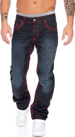 Rock Creek RC-2092 Mens Designer Denim Jeans Thick Zer Stitching - Black - W32