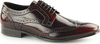 Ikon NOLAN Mens Hi Shine Leather Lace Up Derby Brogues Bordo UK 10