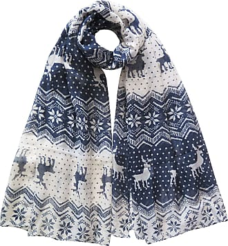 Lina & Lily Christmas Deer Snowflake Print Womens Scarf Lightweight (Blue&White)