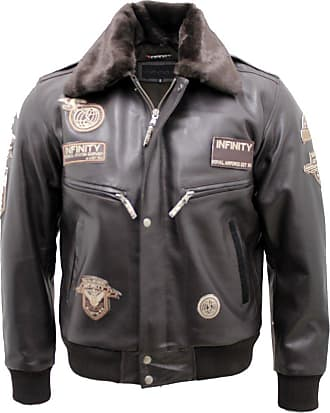 Infinity Mens Brown Cow Hide Leather Flight Bomber Jacket with Detachable Collar 3XL